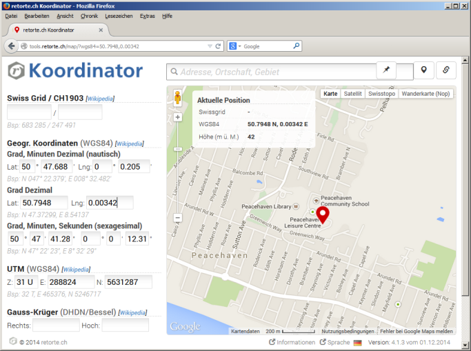 Postal Codes Database - koordinator detailed